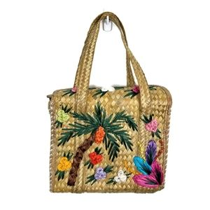 Vintage Woven Wicker Tote Bag Tropical Motif